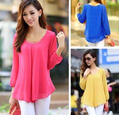 Korean Fashion Women's Loose Chiffon Tops Long Sleeve Shirt Casual Blouse #Unbranded #Blouse #Casual