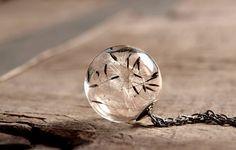 Dandelion necklace Real dandelion seeds pendant Nature