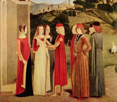 """""""The Betrothal"""", ca. by an unknown Italian artist. During the Renaissance, art transitioned from being overly religious towards becoming more secular and started capturing every day life. Italian Renaissance Dress, Renaissance Mode, Renaissance Costume, Renaissance Fashion, Renaissance Clothing, Renaissance Portraits, Italian Outfits, Italian Fashion, European Fashion"""