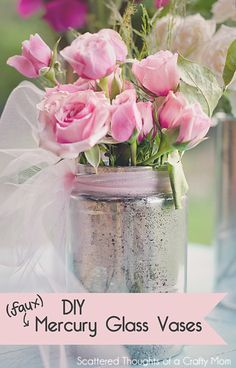 These Faux Mercury Glass Vases are so simple to make! Get the instructions in this simple tutorial from www.scatteredthou... #mercuryglass
