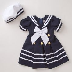 Sailor Collar Nautical Dress with Bow and Beret - Ahoy Matey: Baby Sets Sail - Events