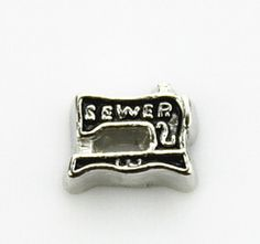 Sewing Machine Floating Locket Charm at www.showyourcharm.com Whether you are a professional seamstress or a hobbist, your need this little sewing machine in your floating locket collection.