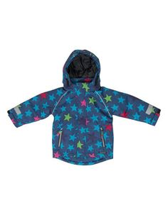 Villervalla - Blue winterjacket for kids with mixed stars - Pepatino.be