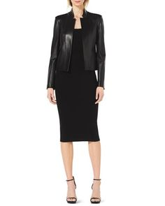Stand-Collar Leather Jacket, Scoop-Neck Cap-Sleeve Top & Formfitting Wool Tube Skirt by Michael Kors at Neiman Marcus.