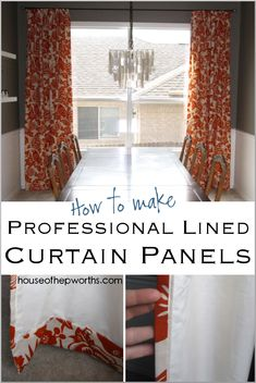 How to make professional lined curtain panels. A step-by-step tutorial for creating swoon-worthy curtains. Tutorial at www. No Sew Curtains, How To Make Curtains, Rod Pocket Curtains, Lined Curtains, Easy Sewing Projects, Diy Projects, Sewing Diy, Sewing Crafts, Learn Sewing