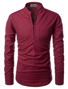 Casual mandarin collar shirts for men. Henley slit neck with 1 button, cotton fabric solid linen shirts with long sleeves. Slim Fit Casual Shirts, Men Casual, Style Masculin, Stylish Mens Outfits, African Men Fashion, Korean Fashion, Henley Shirts, Mens Fashion Suits, Collar Shirts