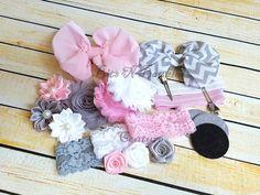 baby shower diy headband kit, newborn photography, baby shower headband station, how to make baby headbands