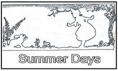 summer days rabbit & girl pattern outline