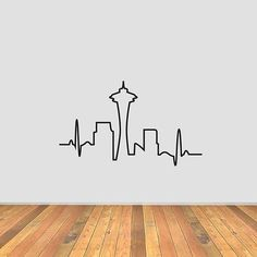 This is a Seattle Skyline Heartbeat vinyl decal. Pictures shown are not to scale. Please contact for custom sizes. Perfect for laptops, Seattle Skyline Tattoo, Seattle Tattoo, Diy Tattoo, Greys Anatomy Frases, Anatomy Tattoo, Future Tattoos, In A Heartbeat, Line Drawing, Skyline Silhouette