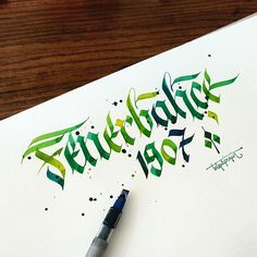 Some Colorful Letterings with Parallelpen - Part 1 by Tolga Girgin, via Behance ~I love the colors! Calligraphy Words, How To Write Calligraphy, Beautiful Calligraphy, Calligraphy Alphabet, Penmanship, Gothic Lettering, Lettering Design, Logo Design, 3d Letters