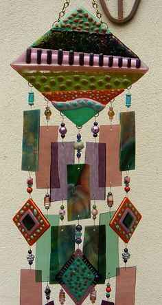 Kirks Glass Art Fused Stained Glass Wind Chime windchime - The Road Not Taken.  via Etsy.