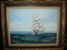 VINTAGE-SHIP-AT-SEA-OIL-ON-CANVAS-SIGNED-FRAMED-PAINTING