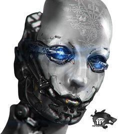 Cyborg Robotic Face Female