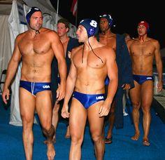Tony Azevedo (front right), US Olympic Water Polo Team Captain, and teammates