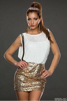 Βραδινό αμάνικο μίνι φόρεμα με παγιέτες στη φούστα-Άσπρο Χρυσό 33.50euro  http://www.fashioneshop.gr/eshop/%CE%93%CF%85%CE%BD%CE%B1%CE%B9%CE%BA%CE%B5%CE%AF%CE%B1-%CE%A1%CE%BF%CF%8D%CF%87%CE%B1/%CE%A6%CE%BF%CF%81%CE%AD%CE%BC%CE%B1%CF%84%CE%B1?product_id=15622