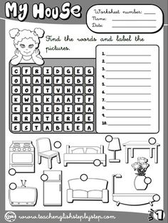 My house - Worksheet 5 (B&W version) English Teaching Resources, English Worksheets For Kids, English Activities, Education English, English Class, Teaching Spanish, Teach English To Kids, English Lessons For Kids, English Tips