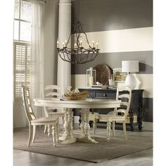 The Beaufort House collection is crafted from rubberwood and poplar solids with maple veneers. It is the perfect amount of style, grace and comfort. Powell Furniture, Hooker Furniture, Dining Room Furniture, Dining Set, Dining Room Table, Dining Rooms, Kitchen Tables, Round Dining, Beaufort House