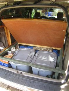 We loved our old VW camper but the darn thing kept breaking down. Last month we replaced it with a Toyota Sienna van. At first it looked . Minivan Camping, Truck Camping, Camping Life, Camping Kitchen, Beach Camping, Car Rental, Camper Beds, Car Camper, Station Wagon