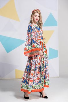 Italy style flare sleeve loose dress new 2018 summer retro print elegant  dress fashion vintage maxi 34197e5676d5
