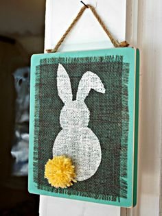 Check out our fun Easter craft! This Easy Stenciled Burlap Bunny Plaques are ideal for hanging in your home for Spring and Easter! Diy Osterschmuck, Easy Diy Crafts, Crafts To Make, Bunny Crafts, Easter Crafts, Easter Ideas, Spring Crafts, Holiday Crafts, Holiday Ideas