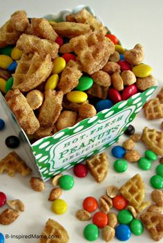 Use Eggo Waffles to make this quick and yummy Cinnamon Waffle Snack Mix for the kids or your next party! B-InspiredMama.com