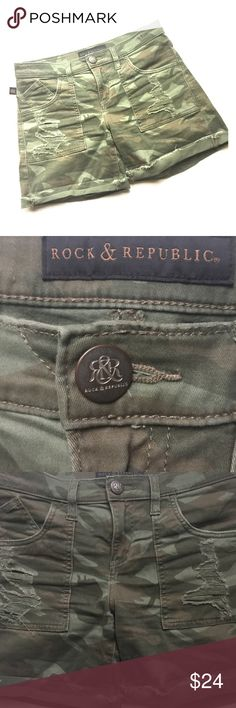Rock & Republic Camouflage  Distressed Bumbershoot Current and edgy five pocket distressed camouflage green jean shorts. Material 98% Cotton, 2% Spandex Rock & Republic Shorts Jean Shorts