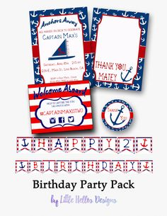 A personal favorite from my Etsy shop https://www.etsy.com/listing/280451046/nautical-birthday-birthday-party-pack