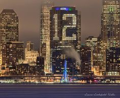 Seattle's Seahawk pride done up in lights at night, in Seattle, of course!