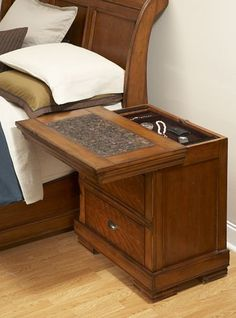 Concealed Furniture Gun Safes | This nightstand has a top that slides forward to reveal a secret ...