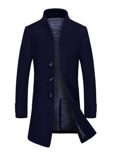 Einreiher Business Coat Gentlemanlike Fit Woolen Herren Casual Mittellanger Slim Trenchcoat OkXZPuTi