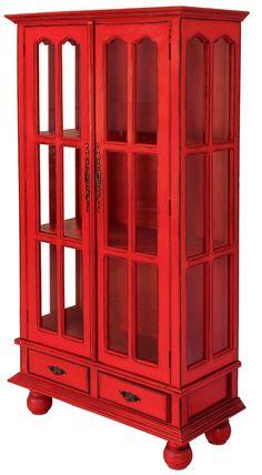 Red display cabinet #Nadeau #FWAS