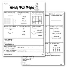 Weekly Math Magic freebie - Common Core Math Weekly review  ~LOVE Sunny Days!