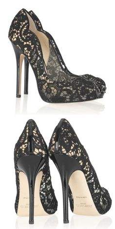 Jimmy Choo ~ Black Lace Platform Pumps