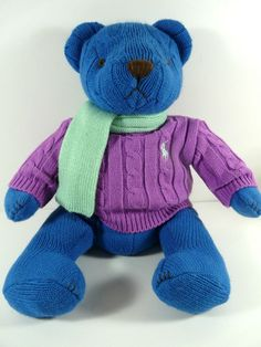 Ralph Lauren Stuffed Teddy Bear 2004 Blue Knit Body Polo Logo Sweater Scarf  #RalphLauren