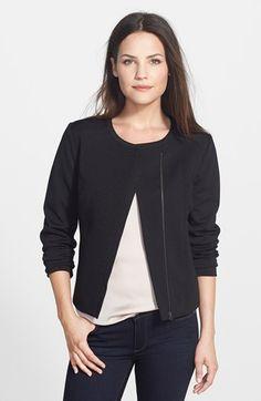 Halogen® Knit Moto Jacket - Similar style in grey cotton