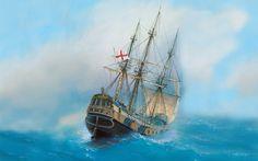 Скачать обои арт, флот, painting, парусный, корабль, раздел живопись в разрешении 1680x1050