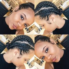 Natural Styles: Cornrows with a TWA is a tutorial that will show you how to do cute cornrows with your teenie weenie afro (TWA). Natural Protective Styles, Protective Hairstyles For Natural Hair, Natural Hair Braids, Braids For Black Hair, Natural Hair Tips, Natural Hair Journey, Natural Hair Styles, Ghana Braids Hairstyles, Braided Hairstyles