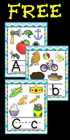 """FREE!! Full set of alphabet posters with upper and lower case letters. Each poster has several pictures and letters are lined....Follow for Free """"too-neat-not-to-keep"""" teaching tools & other fun stuff! ;)"""