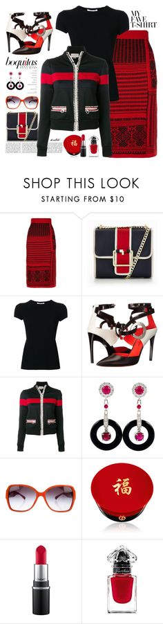 """""""Suits me to a """" T """""""" by kateo ❤ liked on Polyvore featuring Burberry, Tommy Hilfiger, Helmut Lang, Proenza Schouler, Gucci, Chanel, Giorgio Armani, MAC Cosmetics, Guerlain and MyFaveTshirt"""