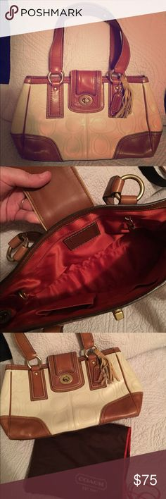 COACH Camel and cream leather purse Excellent condition. Used once! Cream leather with camel trim COACH purse- smoke free home! Coach Bags