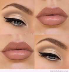 Subtle gold smokey eye with nude lips
