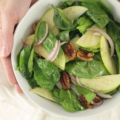 Made with crispy granny smith apples, crunchy pecans, and a sweet apple cider dressing, this is a great light salad for Fall!