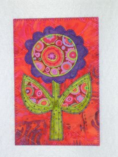Flower -HAPPY FLOWER- Whimsical Quilted Appliqued Fabric Postcard -Make it a happy day