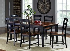 Avalon Dining Set by Hillsdale Furniture: Constructed of hardwood and wood composites, the square Avalon Dining Chair features a lovely black-finished base with dark cherry seat. It has a sophisticated ladder back design, and pairs perfectly with both the Avalon Dining Table as well as other neutral dining collections. The dining table, also constructed of hardwood and wood composites, features a lovely black-finished base with a dark cherry top.
