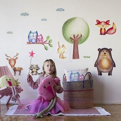 Woodland stickers Woodland nursery Woodland Animals Wall
