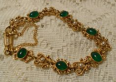 Vintage Florenza Green Glass and Pearl by ViksVintageJewelry, $34.99