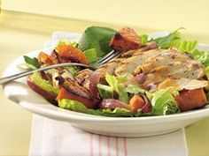 This recipe pairs hot-off-the-grill chicken and squash with cool, crisp greens.
