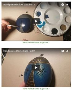 Rock Painting Video Tutorial: Glitter Bugs by Rachel's Rocks Rock Painting Supplies, Rock Painting Ideas Easy, Painted Rocks Craft, Hand Painted Rocks, Painted Stones, Dot Painting, Stone Painting, Graffiti, Stained Glass Paint