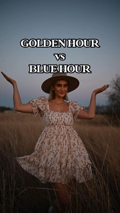 Golden Hour vs Blue hour Photography Tips! Field portrait photography editorial