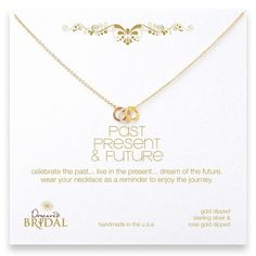 Past, Present, Future Necklace with Gold, Rose Gold & Silver.
